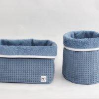 Stoffkörbchen-Set_Waffelpiqué-Blue